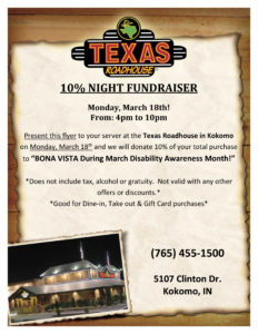 Texas Roadhouse Give Back to Bona Vista Programs! @ Texas Roadhouse