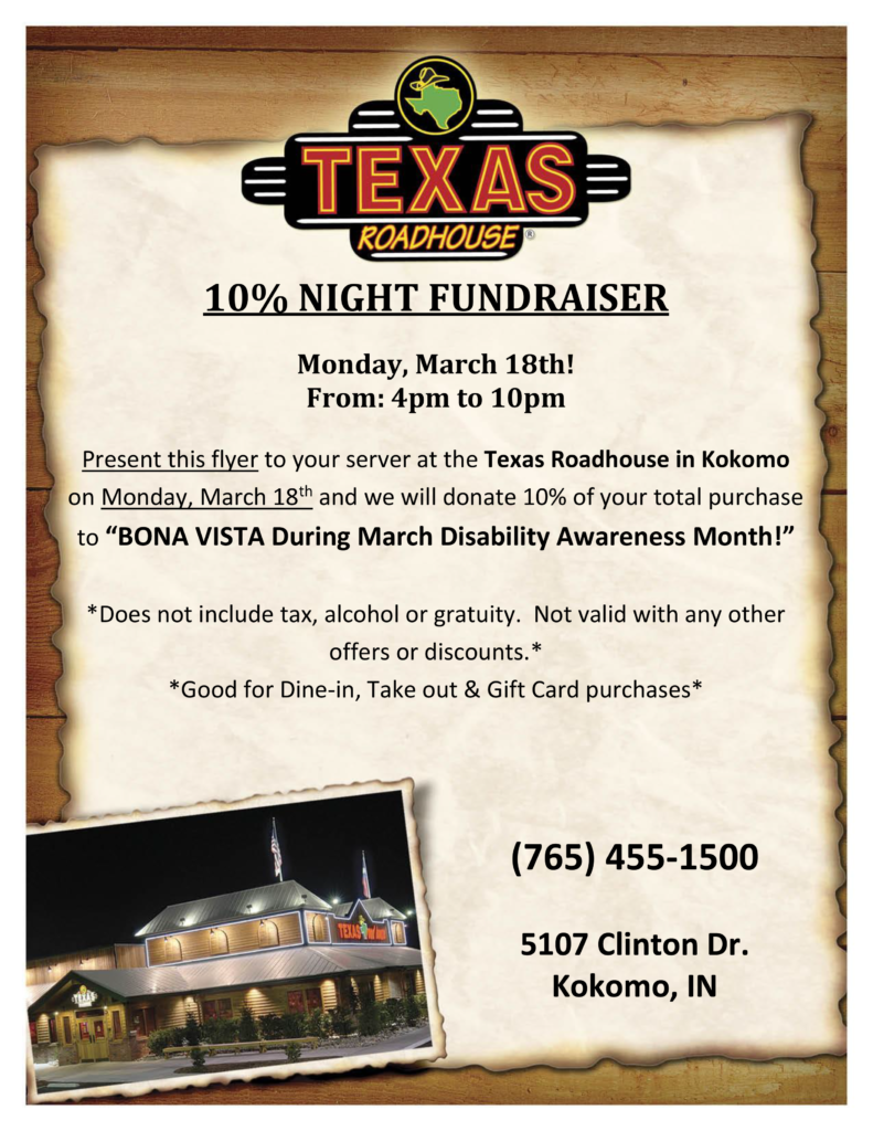 Texas Roadhouse Give Back to Bona Vista Programs!