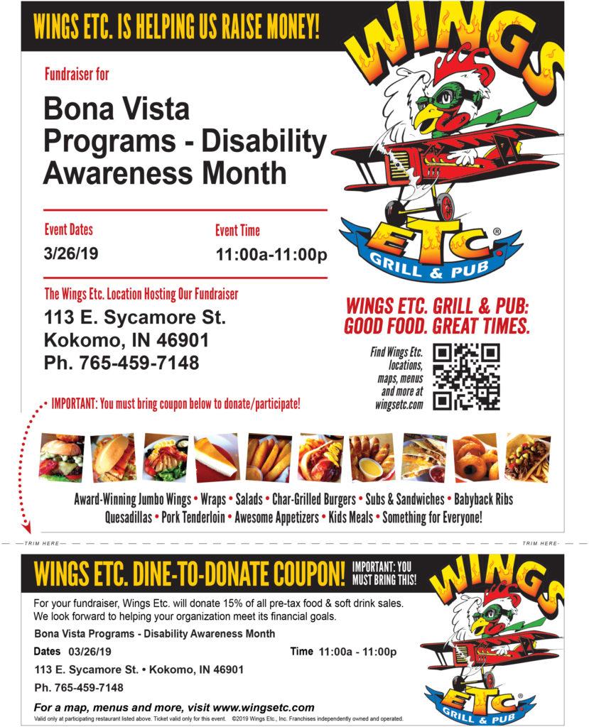 Go toWings Etc. to help raise funds for Bona Vista Programs!