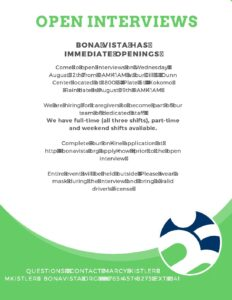 Open Interviews at Bona Vista Programs @ Bona Vista Programs, J.S.D. center