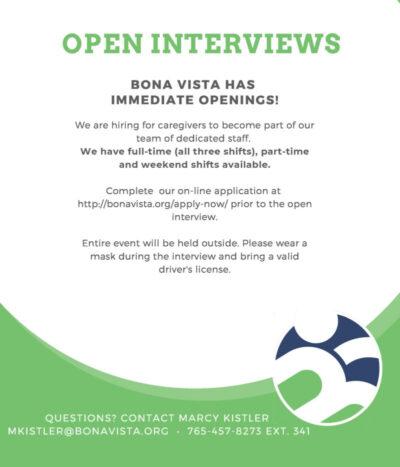 Open Interviews at Bona Vista